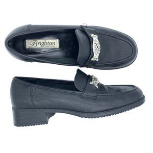 Brighton DeLuxe Black Leather Loafers Shoes 9 M